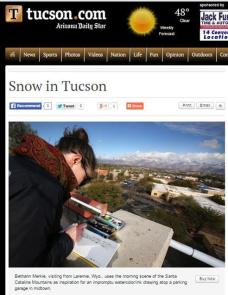 """""""Arizona Daily Star"""" spotted me sketching while I was conducting field research for illustrations published in the book """"And Then There Were None: The Demise of Desert Bighorn Sheep in the Pusch Ridge Wilderness,"""" by Dr. Paul R. Krausman"""