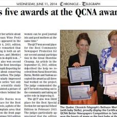 Journalism and photojournalism awards received from Quebec Community Newspaper association